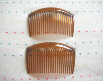 """Translucent Brown Plastic Hair Combs, 3 1/4"""" Wide (4)"""