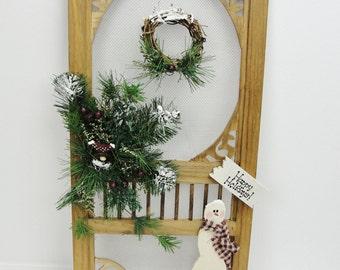 Snowman screen door decor, snowman decor, cottage decor, winter wall decor