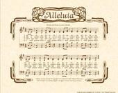 ALLELUIA - Custom Christian Home Decor - VintageVerses Sheet Music - Hymn Wall Art - Inspirational Wall Art - Modern Praise Music Wall Art