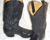 Vintage Black Leather Tony Lama Western Cowboy Boots Rockabilly Size 9 1/2D Great Cond