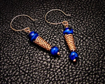 Bronze jewelry, Cobalt Bronze Earrings, Ancient jewelry,  greek earrings, roman earrings,  Ancient Inspired, dangle earrings, drop earrings