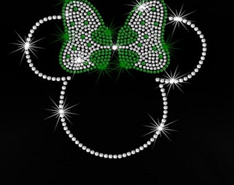 "7.6"" Minnie Mouse St. Patrick's Day iron on rhinestone Disney bling TRANSFER"