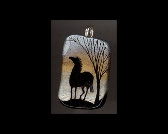 Horse Jewelry: The Moon and Horse Silhouette Pendant. Original India Ink Drawing on Polymer Clay. Gold, Silvery Grey, and Black 4161