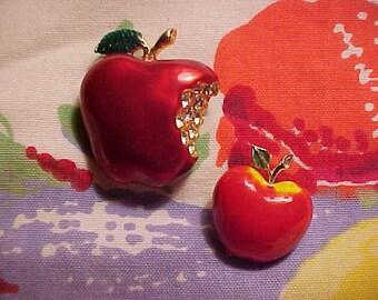 LOLot Vintage Rhinestone Pins FIGURAL Apples SAXON Rich Enamel & Porcelain BEATRIX