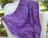 Hand Knit Afghan Throw, Basket Weave PURPLE Variegated Throw Lap Afghan Baby Blanket