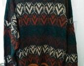 Sears Roebuck men's xl cardigan sweater jumper southwest pattern knit grunge boho 90s large tall size