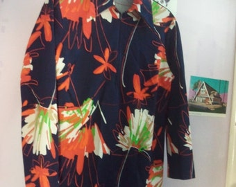 FLASH SALE Seventies polyester disco sweater jumper zip 70s zipper jacket shirt boho polyester
