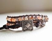 Botswana Agate Gemstone Bracelet - Beaded Leather Double Wrap Yoga Bracelet