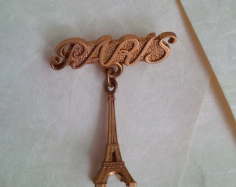 Paris - Vintage French Brooch - Eiffel tower brooch with Paris text - Souvenir from France - Vintage Jewelry