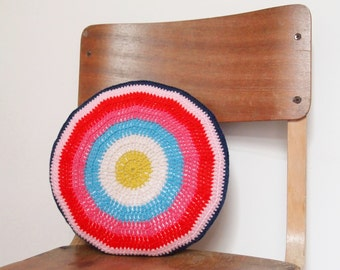 Crocheted Round Stiped Cushion