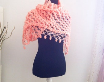 Salmon, Shawl, Scarve, Angora Triangle  Shawl, Neckwarmer , Wedding, Bridal, Bridesmaid, Romantic, vintage style, Etole