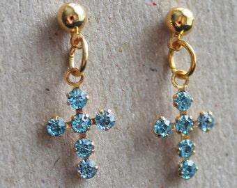 Blue swaroskie cross earrings,gold plated post earrings,blue swaroskies,swaroskies,stud earrings,blue swaroskie cross,prom night,birthday