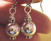Shiny Silver Ball Earrings--Choose either Clip On Earrings or a Variety of Pierced Backings