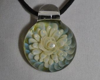 Glass Jewelry - Boro Focal Bead - Handmade Lampwork Pendant Silver Fume