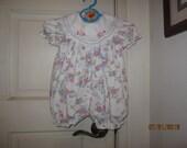 Easter Vintage Baby Infant Girl BUBBLE Romper Dress 3-6M Retro Floral