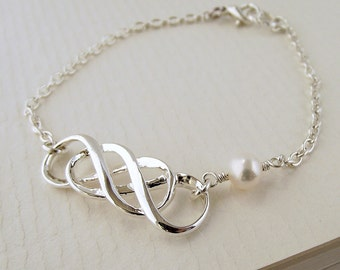 infinity bracelet, silver bracelet, double infinity pearl bracelet