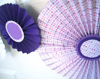 Purple and pink rosette paper flower medallions