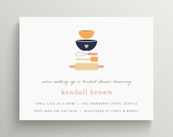 kitchen baking items bridal shower invitation set // kitchen shower // stock the kitchen // couples shower invitation // recipe card // cook