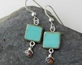 robins egg. blue bohemian czech glass tiles. sterling silver. blue earings. robins egg blue earrings.