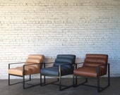 Leather Horizontal Channel Chair - Choose your own fabric