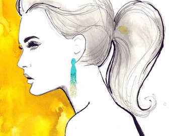 Oscar's Tassel, print from original watercolor and mixed media fashion illustration by Jessica Durrant