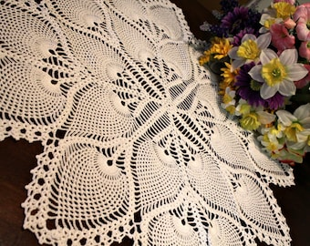 Lovely  Crochet Pineapple Tablecloth