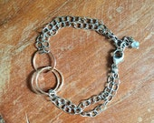 Rose Gold Circles 2+1 and Sterling Bracelet