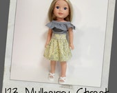 Doll Clothes fit dolls like Wellie Wishers-Pretty Yellow and Grey Paisley Skirt and Grey Ruffle top, 123 Mulberry Street