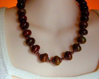 Brown, Green and Copper Necklace
