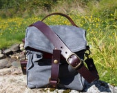 Gray Waxed Canvas, Cordura, and Leather Reusable Insulated Lunch Bag with Adjustable Leather Shoulder Strap