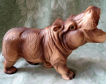 Vintage Hippopotamus Hippo Ceramic Figurine Made in Japan 1960's