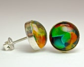 Sterling stud and post earrings with lampwork art glass cabochon setting, Paulbead surgical steel post earring fine jewelry gifts for women