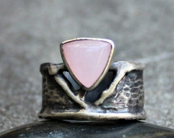 Rose Quartz Ring - Pink Stone Ring - Sterling Silver Ring - Organic Silver Ring - Thick Silver Band Ring - Rustic - Triangle Stone Ring _US7