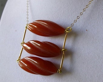 Carnelian Red Vintage Lucite Bead and Brass Ladder Necklace - Modern - Boho Chic - Gold