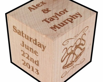 5th Anniversary Gift, Personalized, Wood Block