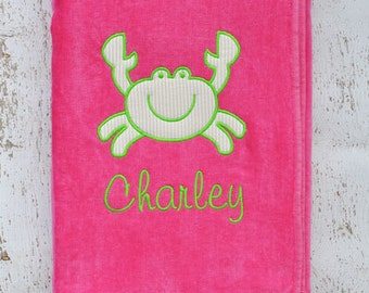 Crab Appliqué Beach Towel | Monogram Beach Towel | Personalized Towel | Girl Beach Towel