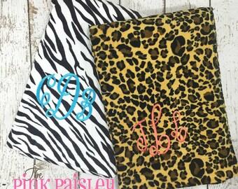 Monogrammed Leopard or Zebra Animal Print Beach Towel