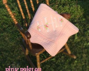 Rose Monogram Baby Quilt Blanket