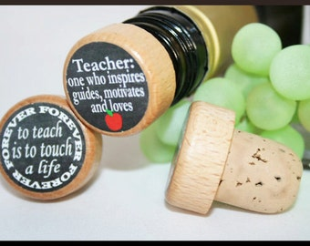 Teacher Wine Stopper, Teacher Appreciation Gift, End of The Year Teacher Gift, Personalized Stopper- Bulk Pricing