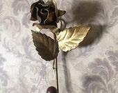 Gold rose tole hook