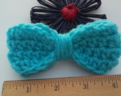 Turquoise Bow / Bows / Crochet Bow / Applique / Craft Bows / Yarn Bows / Craft Supply /