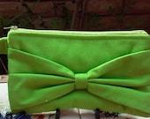 CLOSEOUT - Wristlet, Handbag, Purse, Wallet, Make up Bag, Lime Linen Bag