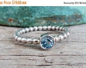 Clearance Blue Topaz Ring -  Sterling Silver Gemstone Ring - Bezel Set Topaz - November Birthstone Jewelry