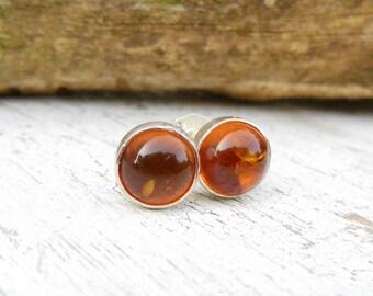 Amber Stud Earrings - Sterling Silver Studs - Amber Post - Gemstone Earrings - Jewelry for Women