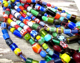 Venetian millefiori beads artisan beads abstract patterened glass beads 16 inch strand chevron beads lampwork beads Fm-B8