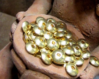 50 Spacer beads gold alloy metal 6mmx 2mm tibetan style no lead no nickel R020-X1