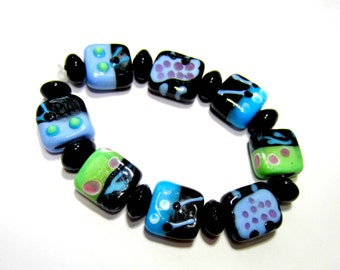 17 Lampwork beads square flat dots and swirls black blue beads handmade beads SB1