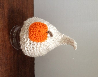 HALLOWEEN ELF HAT Knitted with Pumpkin for Baby, White or Cream Yarn, Photography Prop