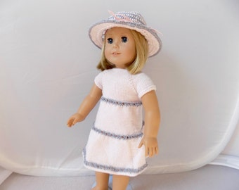 Pink Doll Dress, Knit Doll Clothes, 18 Inch Doll Dress and Hat Set