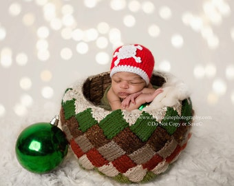 Knit Baby Hat, Christmas Hat, Knit Snowflake Beanie